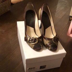 Authentic Christian Dior Leather Logo Heels 7